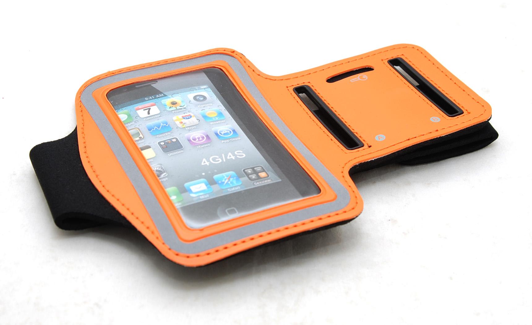 Спортивный чехол на руку ArmBand для Apple iPhone 4s оранжевый
