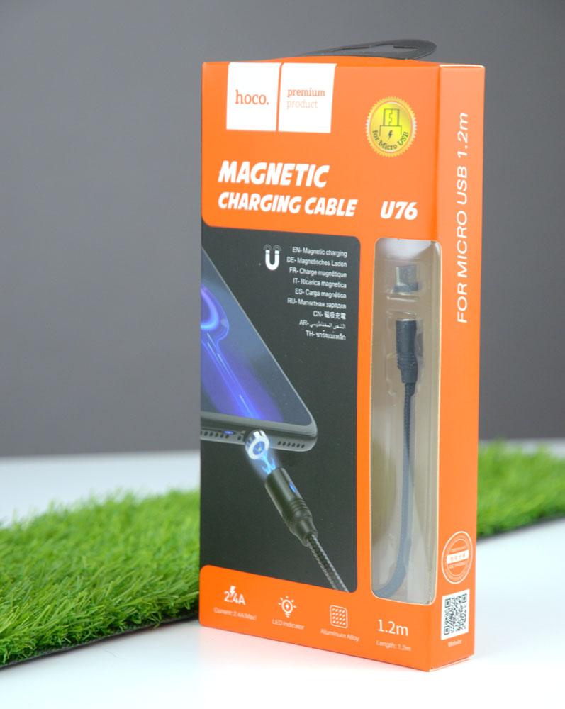 Магнитный кабель Hoco Magnetic U76 кабель Usb \ MicroUSB, 1 м черный