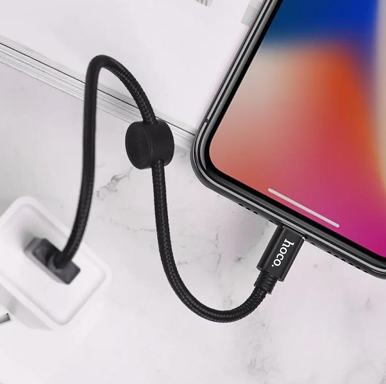USB дата-кабель Hoco X35 Lightning  0.25м для Apple iPhone, 2.4A, черный